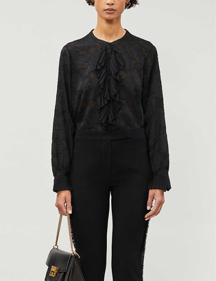 Reiss Arleigh floral embroidery woven blouse