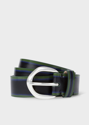 Men's Navy Brush-Off Leather Belt With Silver Buckle