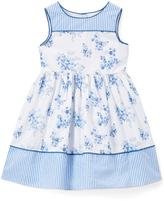 Laura Ashley Blue & White Floral Sleeveless Dress - Infant Toddler & Girls