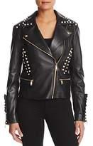 MICHAEL Michael Kors Embellished Leather Moto Jacket