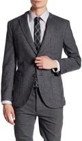 JKT NEW YORK Bond Grey Herringbone Two Button Notch Lapel Wool Jacket
