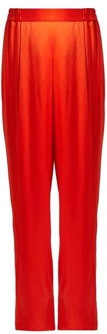Stella McCartney Cicely Wide Leg Satin Trousers - Womens - Red