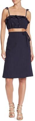 Dee Elly Linen Blend Wrap A-Line Skirt