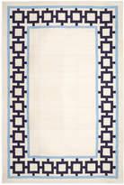 Jonathan Adler Navy/Light Blue Nixon Border Rug Reversible Peruvian Llama Flat Weave Rug