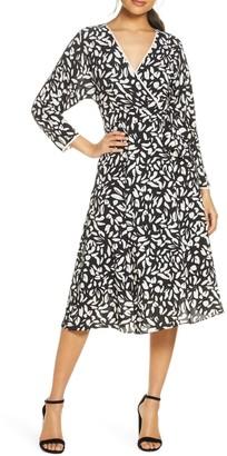 Eliza J Print Faux Wrap Dress