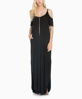 Sweet Pea Black Colder Shoulder Cutout Maxi Dress