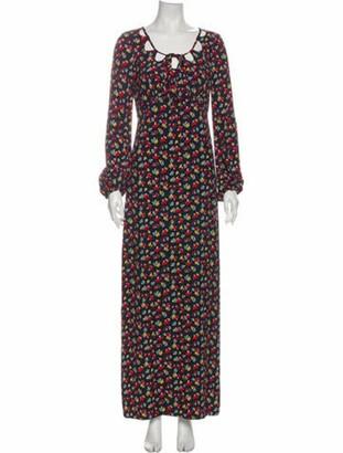 STAUD Floral Print Long Dress w/ Tags Blue