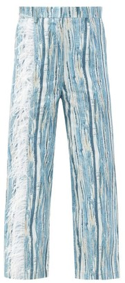 Thebe Magugu Feather-trimmed Shredded Denim-print Cotton Jeans - Blue Stripe
