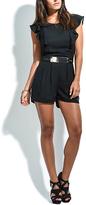 Solange Black Flutter-Sleeve Belted Romper