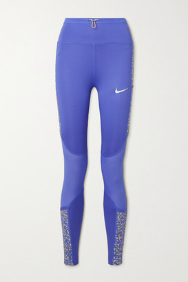 Nike Icon Clash Mesh-paneled Printed Dri-fit Stretch Leggings - Blue