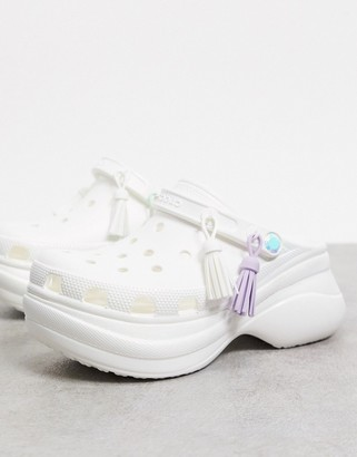 Crocs Bae festival clogs in metallic white