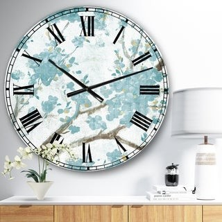Design Art Designart 'Teal Cherry Blossoms I' Traditional Floral Large Wall CLock