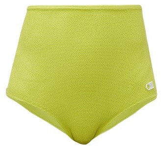 Solid & Striped The Violet Smocked High-rise Bikini Briefs - Womens - Yellow