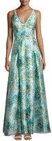 Aidan Mattox Sleeveless Floral Organza Ball Gown