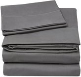 Utopia Bedding 3 Piece Bed Sheet Set (Twin, Grey) Flat Sheet - Fitted Sheet - Pillow Case - Luxury Soft Brushed Microfiber Wrinkle Fade & Stain Resistant -