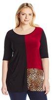 Star Vixen Women's Plus-Size Elbow Sleeve Colorblock Tunic Sweater