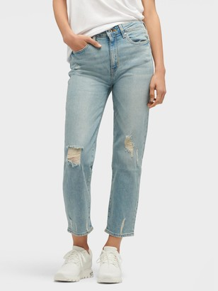 DKNY Women's High-waisted Straight Jean - Light Indigo - Size 32
