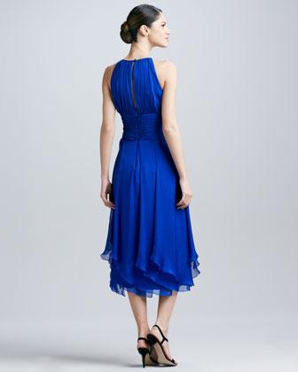 Carmen Marc Valvo Halter-Style Chiffon Cocktail Dress