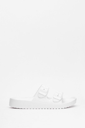 Nasty Gal Womens Walkin' My Way Faux Leather Buckle Sandals - White