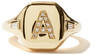 Shay Initial Diamond & 18kt Gold Pinky Ring (a-m) - Yellow Gold