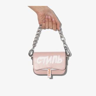Heron Preston pink Mini Canal logo leather bag