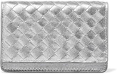 Bottega Veneta Metallic Intrecciato Leather Cardholder - Silver