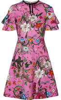 Gucci Ruffled Printed Stretch-jersey Mini Dress