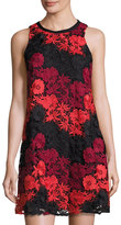 Taylor Embroidered Lace-Overlay Trapeze Dress, Scarlet/Wine