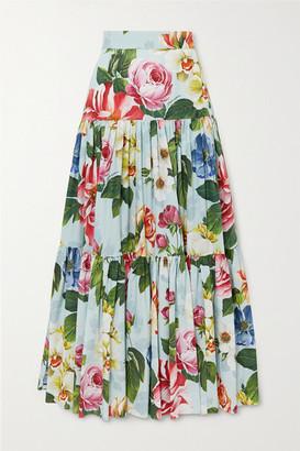 Dolce & Gabbana Tiered Floral-print Cotton-poplin Maxi Skirt - Blue
