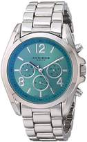 Akribos XXIV Women's AK760SSTQ Swiss Quartz Movement Watch with Green Sunburst Effect Dial and Silver Bracelet