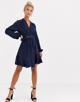 Forever New belted button up flippy hem dress in navy
