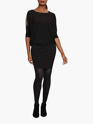 Phase Eight Donisha Beaded Shoulder Knit Dress, Black
