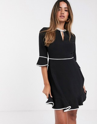 Ted Baker Dindy bow detail skater mini dress-Black