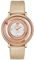 Versace Venus Diamond Rose Gold PVD Watch with Lizard Strap , 39mm