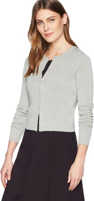 Lark & Ro Women's Crewneck Cropped Cardigan Sweater Grey Heather Large