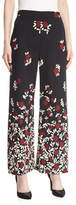 Lela Rose Wide-Leg Degradé Floral Pants