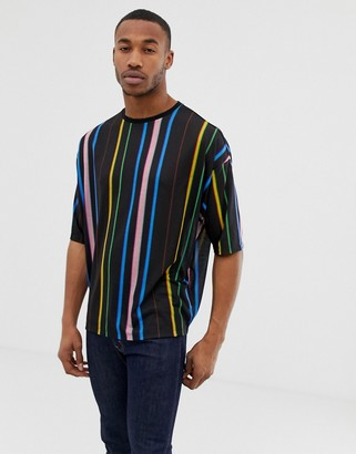 Asos Design DESIGN oversized t-shirt with rainbow vertical stripe-Black