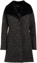 Steve Madden Women's Non-Denim Casual Jackets CHARCOAL - Charcoal Heather Plush-Collar Fleece Button-Up Coat - Women