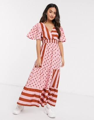 Asos DESIGN v front v back maxi dress with shirred waist in spot and stripe print