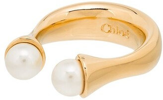Chloé gold-plated Darcey twin pearl ring