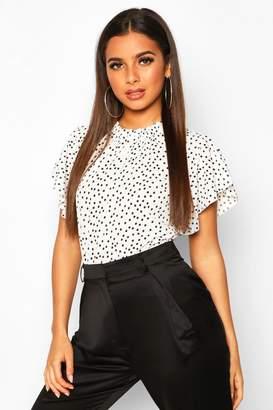 boohoo Polka Dot Frill Sleeve Woven Bodysuit