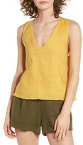 Moon River Women's Linen Tie Back Tank