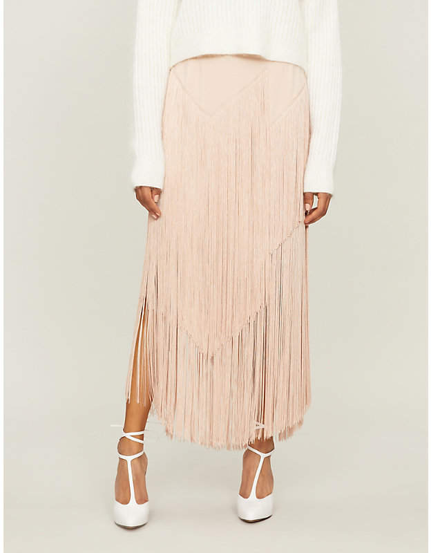Stella McCartney Fringed crepe midi skirt