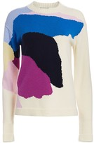 St. John Abstract Floral Intarsia Knit Wool & Cashmere Sweater