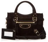 Balenciaga Metallic-Edge City mini suede cross-body bag