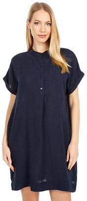 Eileen Fisher Petite Stand Collar Short Sleeve Dress (Ink) Women's Clothing