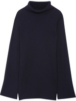 The Row Jose Ribbed Cashmere And Silk-blend Turtleneck Sweater - Navy