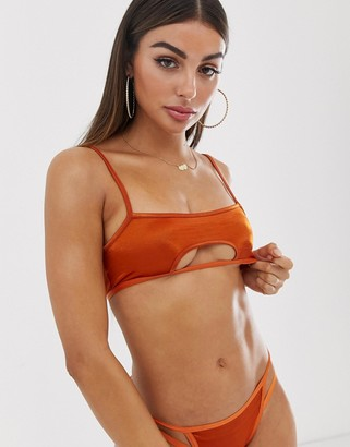 Asos Design DESIGN Odeda metallic rust cut out underboob crop bra-Orange