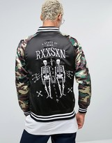 Reason Embroidered Souvenir Bomber Jacket With Camo Sleeves