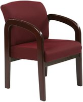 Office Star Work Smart Mahogany Finish Wood Visitors Chair, Ruby